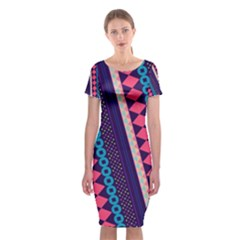Purple And Pink Retro Geometric Pattern Classic Short Sleeve Midi Dress by DanaeStudio