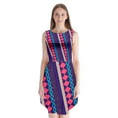 Purple And Pink Retro Geometric Pattern Sleeveless Chiffon Dress   by DanaeStudio