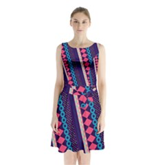 Purple And Pink Retro Geometric Pattern Sleeveless Chiffon Waist Tie Dress by DanaeStudio