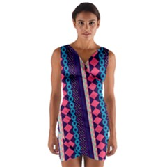 Purple And Pink Retro Geometric Pattern Wrap Front Bodycon Dress by DanaeStudio