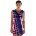 Purple and Pink Retro Geometric Pattern Wrap Front Bodycon Dress