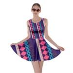 Purple and Pink Retro Geometric Pattern Skater Dress