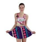 Purple and Pink Retro Geometric Pattern Mini Skirt