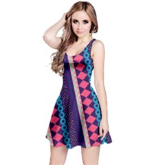 Purple And Pink Retro Geometric Pattern Reversible Sleeveless Dress by DanaeStudio