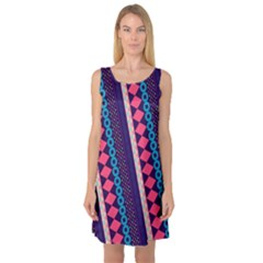 Purple And Pink Retro Geometric Pattern Sleeveless Satin Nightdress by DanaeStudio