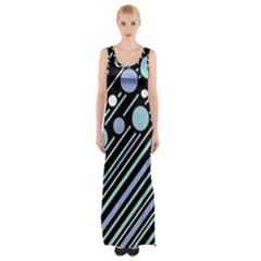 Blue transformation Maxi Thigh Split Dress by Valentinaart