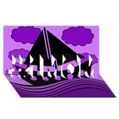 Boat   Purple #1 Mom 3d Greeting Cards (8x4) by Valentinaart