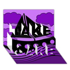 Boat - purple TAKE CARE 3D Greeting Card (7x5) by Valentinaart