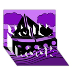 Boat   Purple You Rock 3d Greeting Card (7x5) by Valentinaart