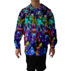 Blue Floral Abstract Hooded Wind Breaker (kids) by KirstenStar