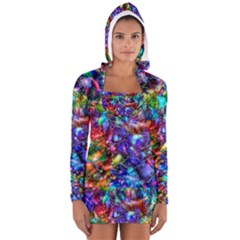 Blue Floral Abstract Women s Long Sleeve Hooded T-shirt by KirstenStar