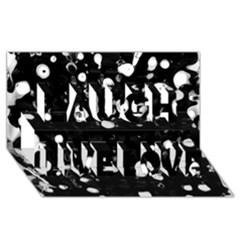 Black Dream  Laugh Live Love 3d Greeting Card (8x4) by Valentinaart