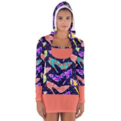 Colorful High Heels Pattern Women s Long Sleeve Hooded T Shirt by DanaeStudio
