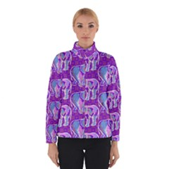 Cute Violet Elephants Pattern Winter Jacket by DanaeStudio