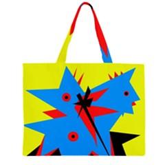 Clock Zipper Large Tote Bag by Valentinaart