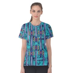 Lace And Fantasy Florals Shimmering Women s Cotton Tee by pepitasart