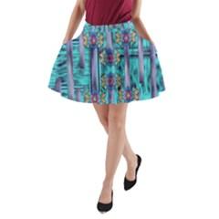 Lace And Fantasy Florals Shimmering A Line Pocket Skirt by pepitasart