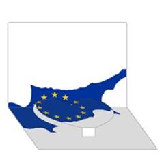 European Flag Map Of Cyprus  Heart Bottom 3d Greeting Card (7x5) by abbeyz71