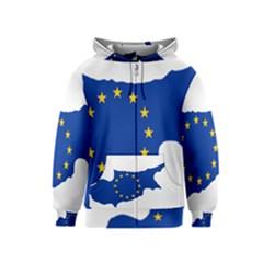 European Flag Map Of Cyprus  Kids  Zipper Hoodie by abbeyz71