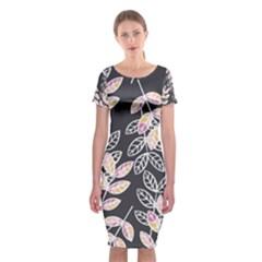 Winter Foliage Classic Short Sleeve Midi Dress by DanaeStudio