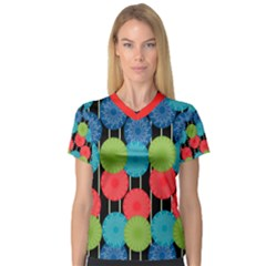 Vibrant Retro Pattern Women s V Neck Sport Mesh Tee by DanaeStudio
