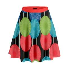 Vibrant Retro Pattern High Waist Skirt by DanaeStudio