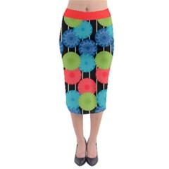 Vibrant Retro Pattern Midi Pencil Skirt by DanaeStudio