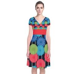 Vibrant Retro Pattern Short Sleeve Front Wrap Dress by DanaeStudio