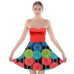 Vibrant Retro Pattern Strapless Bra Top Dress by DanaeStudio