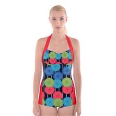 Vibrant Retro Pattern Boyleg Halter Swimsuit  by DanaeStudio