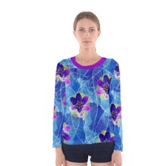 Purple Flowers Women s Long Sleeve Tee by DanaeStudio