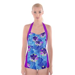 Purple Flowers Boyleg Halter Swimsuit  by DanaeStudio