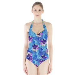 Purple Flowers Halter Swimsuit by DanaeStudio