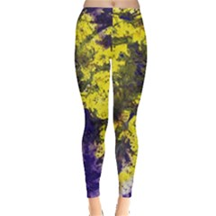 Yellow And Purple Splatter Paint Pattern Leggings  by traceyleeartdesigns