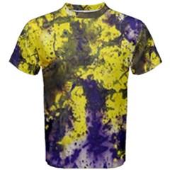Yellow And Purple Splatter Paint Pattern Men s Cotton Tee by traceyleeartdesigns