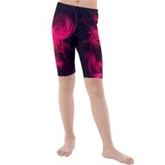 Pink Flame Fractal Pattern Kid s Mid Length Swim Shorts by traceyleeartdesigns