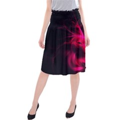 Pink Flame Fractal Pattern Midi Beach Skirt