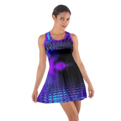 Purple And Blue Lake Fractal Cotton Racerback Dress by traceyleeartdesigns