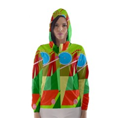 Colorful abstraction Hooded Wind Breaker (Women) by Valentinaart