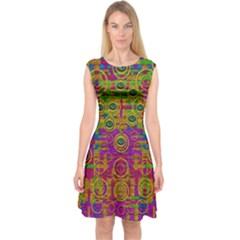 Carpe Diem In Rainbows Capsleeve Midi Dress by pepitasart