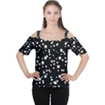 Black and White Starry Pattern Women s Cutout Shoulder Tee