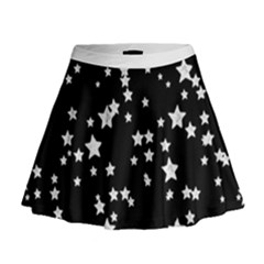 Black And White Starry Pattern Mini Flare Skirt by DanaeStudio