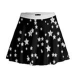 Black and White Starry Pattern Mini Flare Skirt