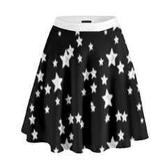 Black And White Starry Pattern High Waist Skirt by DanaeStudio