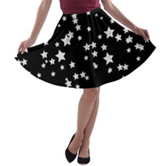 Black And White Starry Pattern A Line Skater Skirt by DanaeStudio