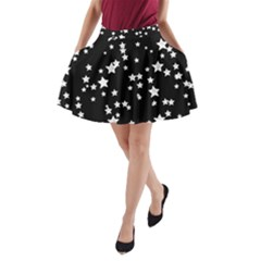 Black And White Starry Pattern A Line Pocket Skirt by DanaeStudio