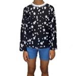 Black and White Starry Pattern Kid s Long Sleeve Swimwear