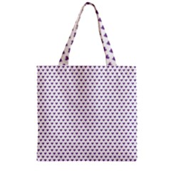 Purple Small Hearts Pattern Zipper Grocery Tote Bag by CircusValleyMall