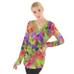 Colorful Mosaic Women s Tie Up Tee