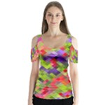 Colorful Mosaic Butterfly Sleeve Cutout Tee